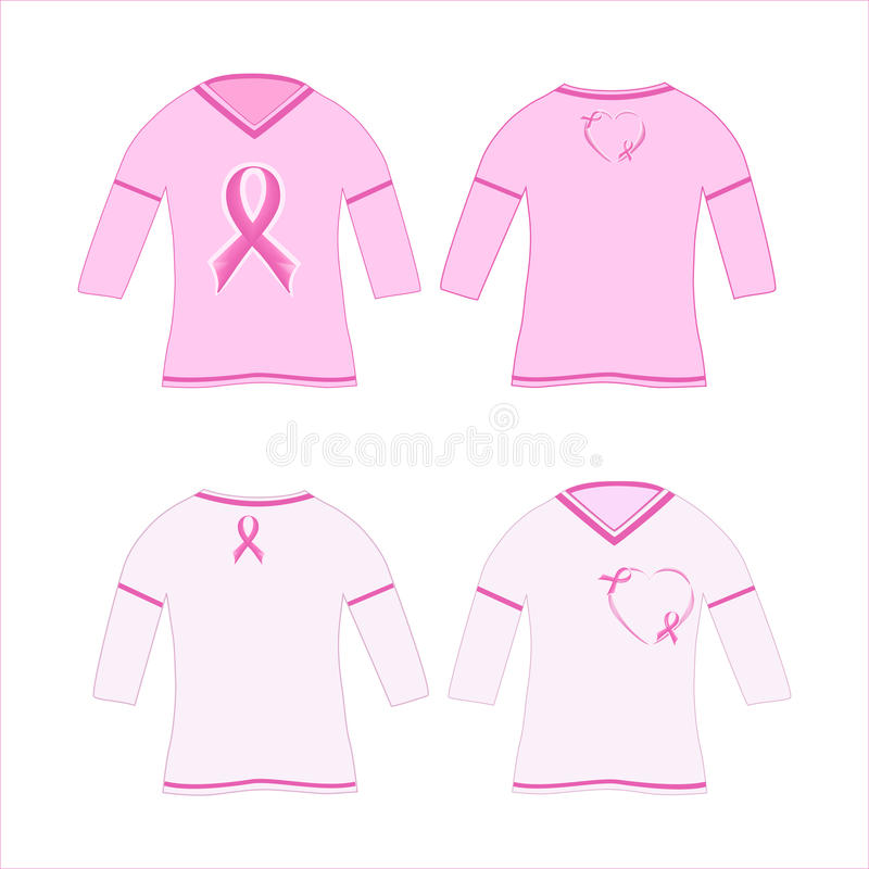 t-shirts with pink ribbon stock photos