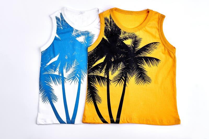T-shirts sans manche de conception de mode d'enfants photographie stock libre de droits