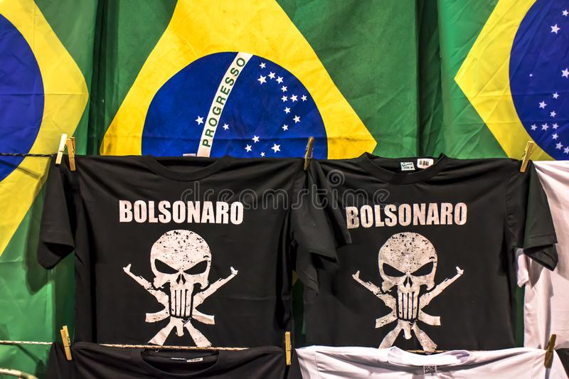 T-shirts of support to President-elect Jair Bolsonaro and Brazil flags. São Paulo, Brazil, October 28, 2018. t-shirts of support to President-elect Jair stock images