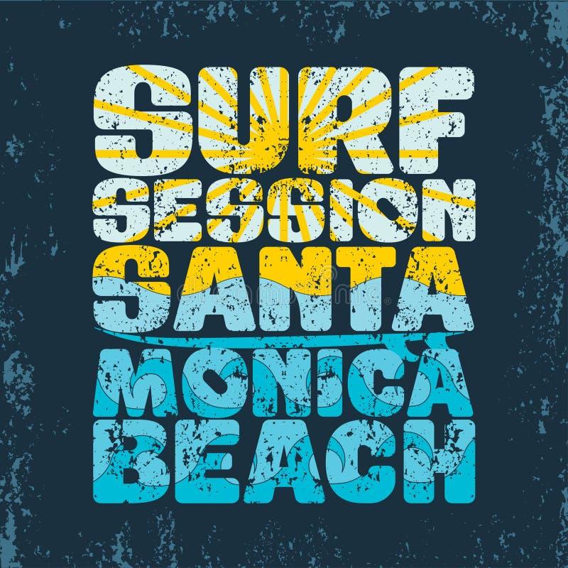 T-shirts surfant la session, T-shirts Santa Monica, sport aquatique illustration stock