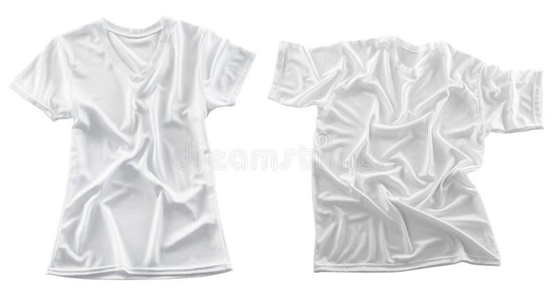 T-shirts vides sur le fond blanc photos libres de droits