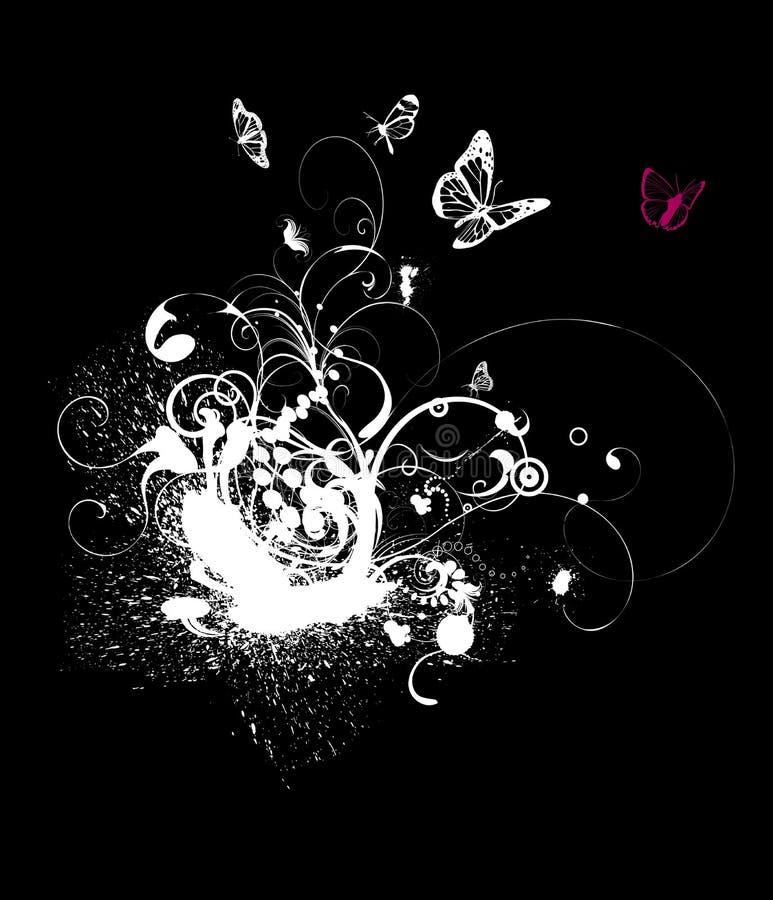T-short design. Black and white foliage designed for T-short decoration royalty free illustration