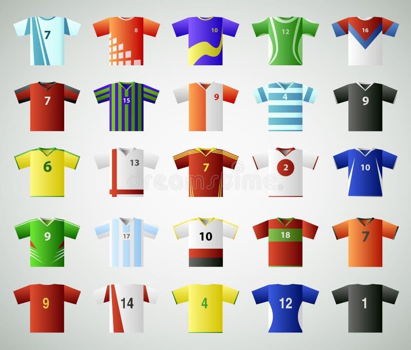 T-skjorta för fotbollärmlös tröja uppsättning royaltyfri illustrationer
