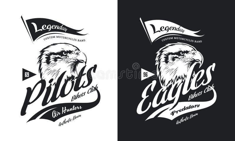 T-skjorta för klubba för motor för cyklar för örn för tappning logo för amerikansk rasande beställnings- svartvit isolerad vektor vektor illustrationer