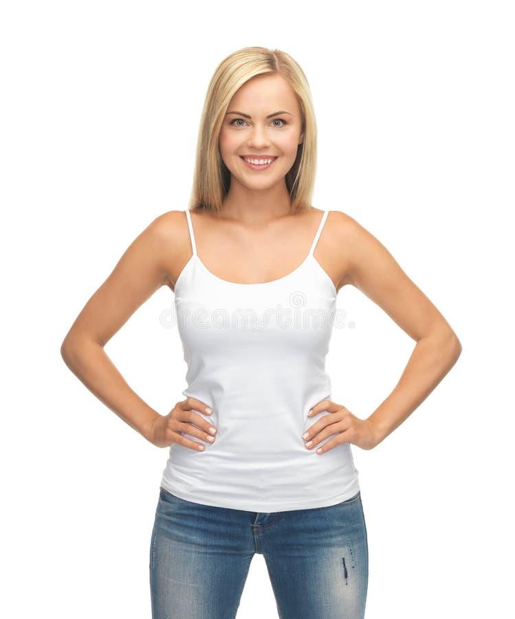 T-skjorta för kvinnablankovit royaltyfri foto