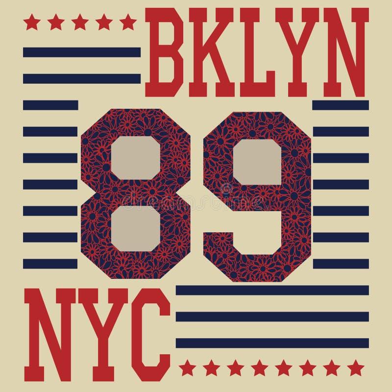 T-skjorta för New York Brooklyn sporttypografi vektor illustrationer