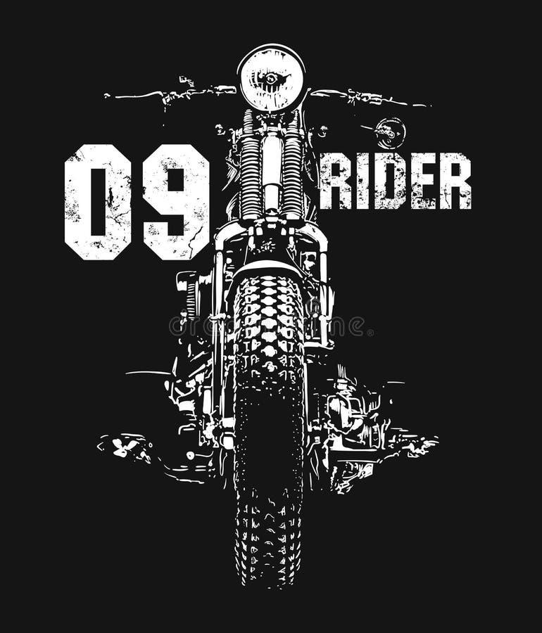 T-skjorta för vektor för tappningmotorcykel hand dragen royaltyfri illustrationer