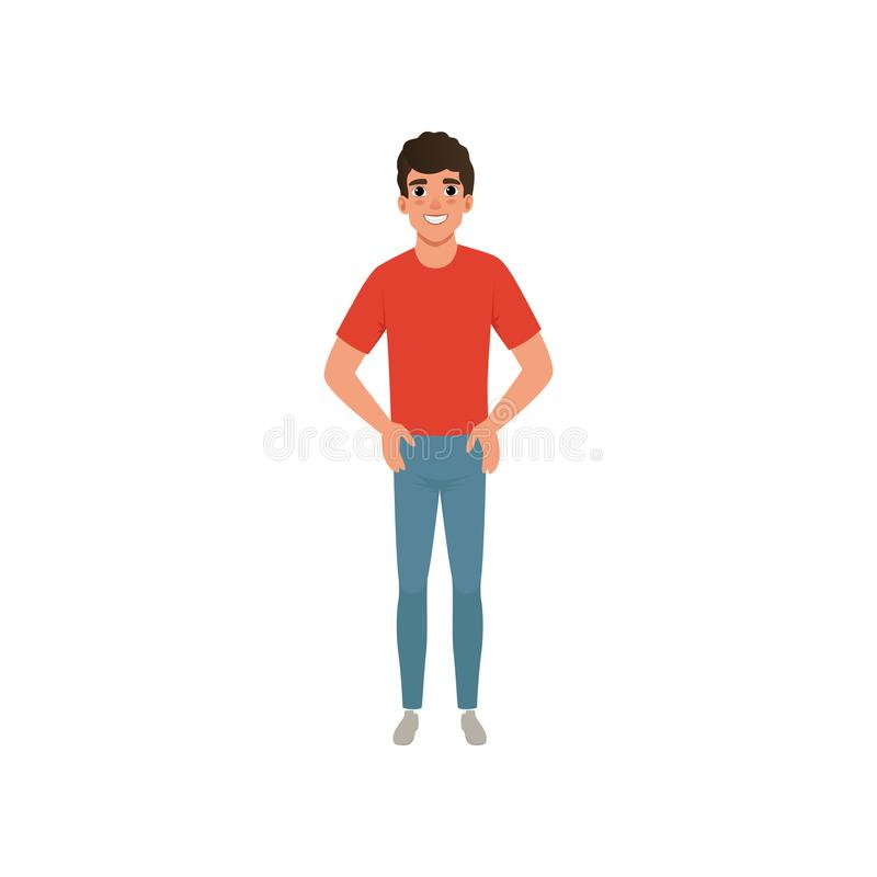 T-skjorta och jeans för ung caucasian man iklädd röd Anseende för manligt tecken för tecknad film med armar som är akimbo med att stock illustrationer