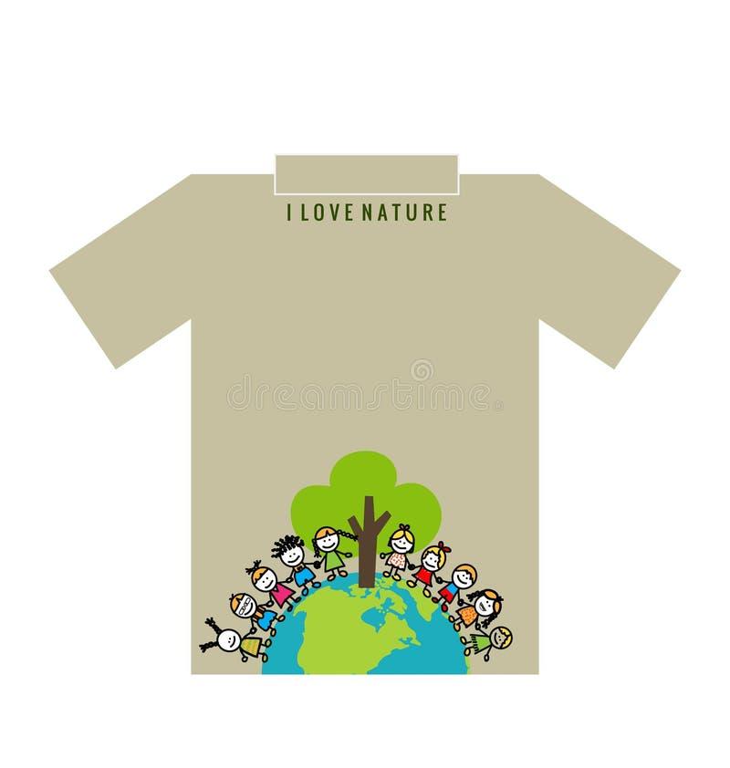 T- skjortadesign - ECO-VÄNSKAPSMATCH - idérikt ekologibegrepp Vecto stock illustrationer