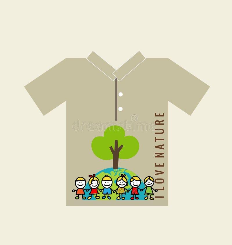 T- skjortadesign - ECO-VÄNSKAPSMATCH - idérikt ekologibegrepp Vecto vektor illustrationer