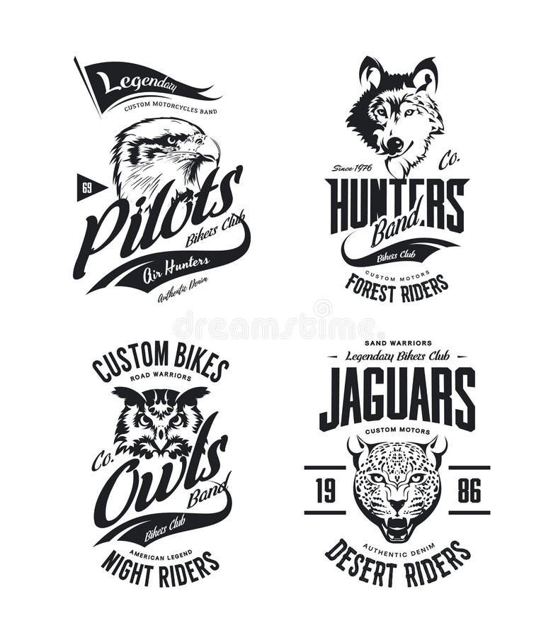 T-skjortan för klubban för tappningjaguar-, varg-, örn- och ugglacyklister ställde vektorn isolerade logoen in vektor illustrationer