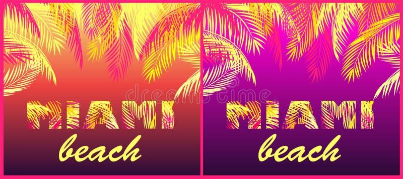 T-skjortapartiet skrivar ut variation med Miami Beach bokstäver med gula och rosa palmblad på neonnattbakgrund stock illustrationer