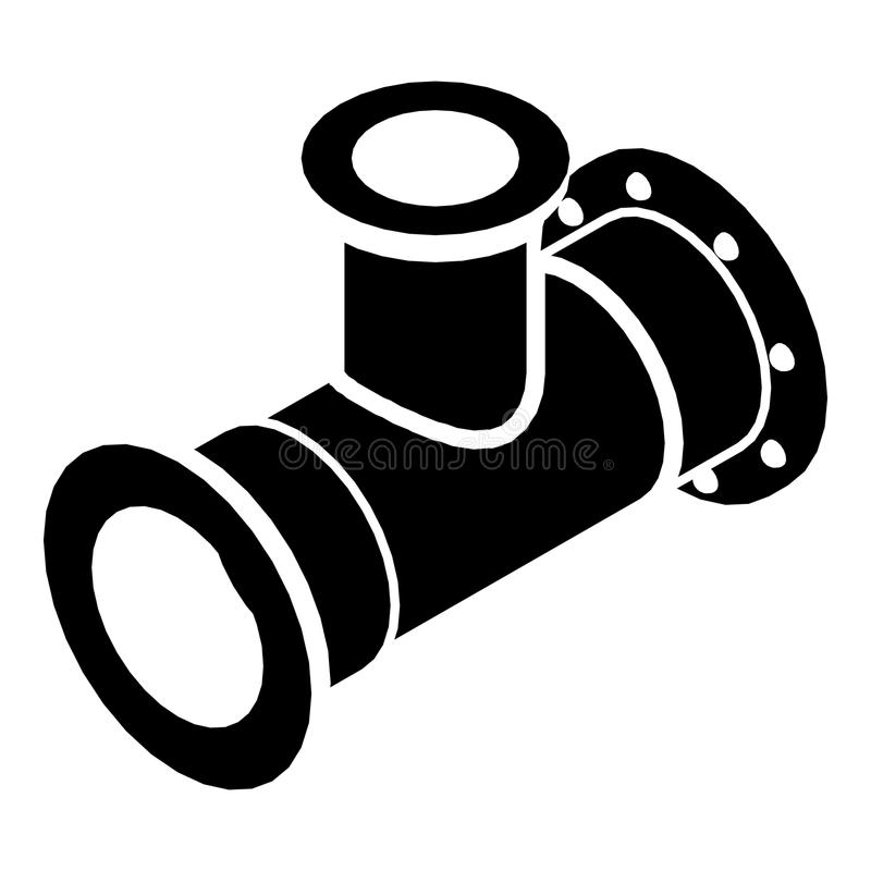 T-Stück Rohrikone, einfache schwarze Art stock abbildung