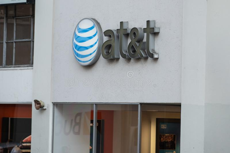 AT&T Store logo on the store front royalty free stock images