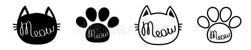 T?te de chat noir Texte de d?coupe de lettrage de miaulement Paw Print Ligne mignonne d'ensemble d'icône de silhouette de personn illustration libre de droits