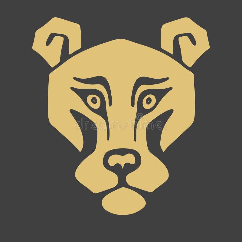 T?te de lion de logo Mascotte stylis?e, ic?ne de vecteur illustration libre de droits