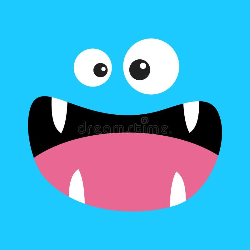 T?te de monstre Émotion de sourire de visage de Boo Spooky Screaming Deux yeux, langue, croc de dents, souris T?te carr?e Carte h illustration stock