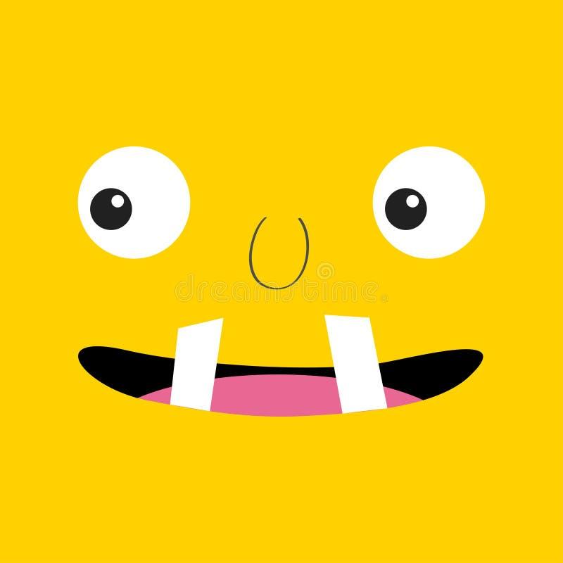 T?te de monstre Boo Spooky font face ? l'?motion Deux yeux, langue, croc de dents, souris T?te carr?e Carte heureuse de Veille de illustration stock