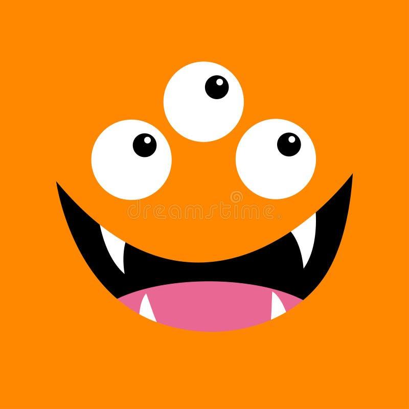 T?te de monstre Boo Spooky Screaming font face à l'émotion Trois yeux, croc de dents, langue, souris T?te carr?e Carte heureuse d illustration de vecteur
