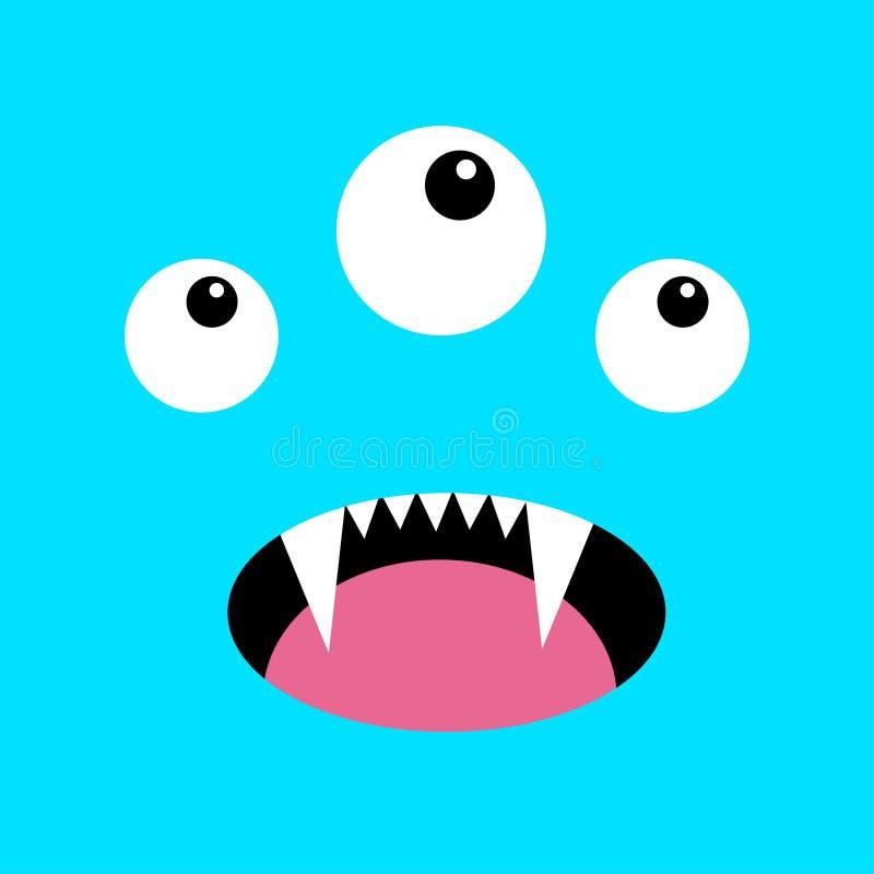 T?te de monstre Boo Spooky Screaming font face à l'émotion Trois yeux, langue, croc de dents, souris T?te carr?e Carte heureuse d illustration de vecteur