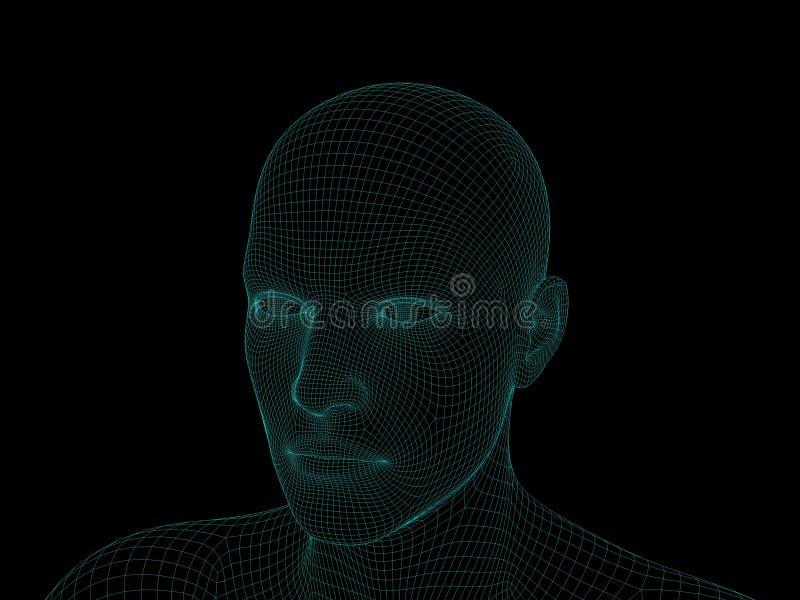 T?te humaine de Wireframe D'isolement sur le fond noir illustration du rendu 3d illustration stock