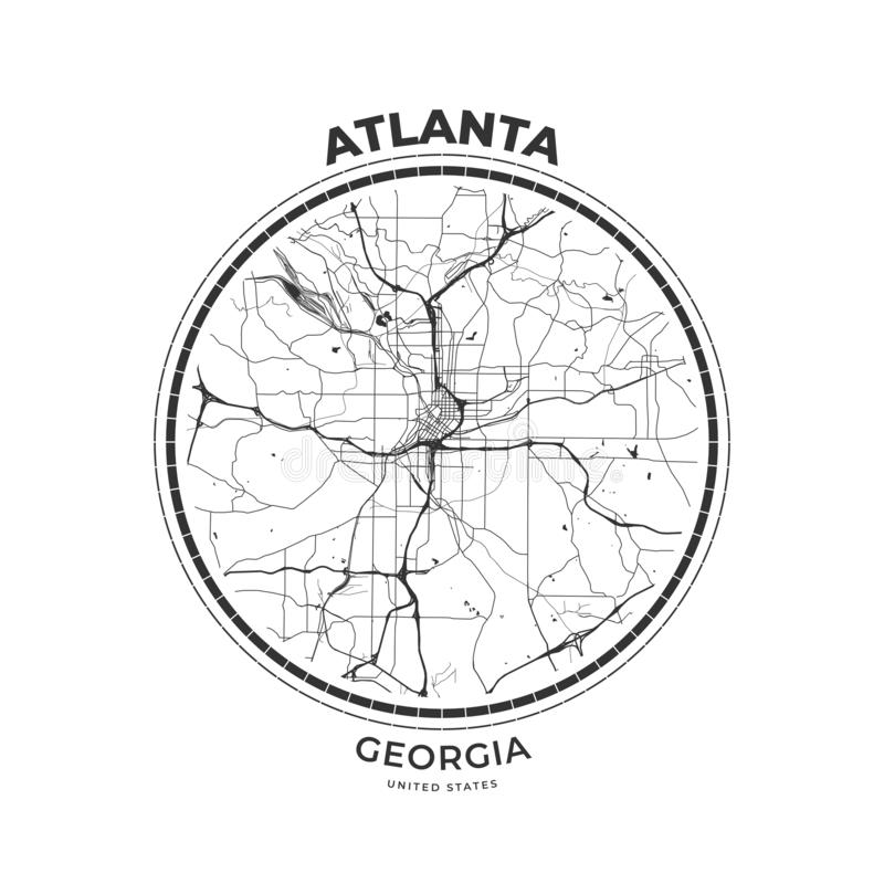 T-tröjaöversiktsemblem av Atlanta, Georgia stock illustrationer