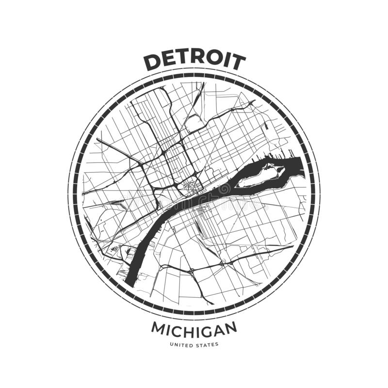 T-tröjaöversiktsemblem av Detroit, Michigan royaltyfri illustrationer