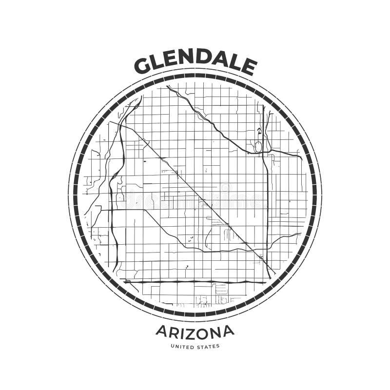T-tröjaöversiktsemblem av Glendale, Arizona vektor illustrationer