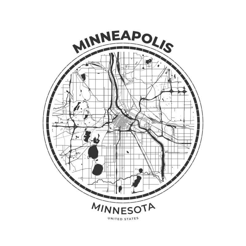 T-tröjaöversiktsemblem av Minneapolis, Minnesota vektor illustrationer