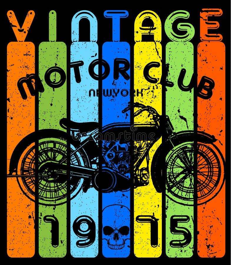 T-tröja- eller affischdesign med illustrationen av en motorcykel stock illustrationer