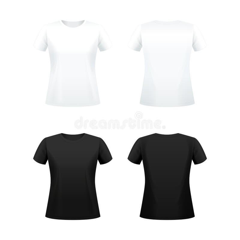 T-tröja för kvinnor vektor illustrationer