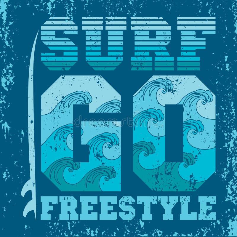 T-tröja går att surfa, Miami Beach, Florida att surfa stock illustrationer