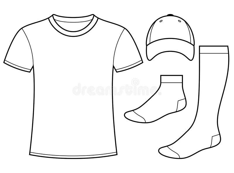 T-tröja-, lock- och sockamall stock illustrationer