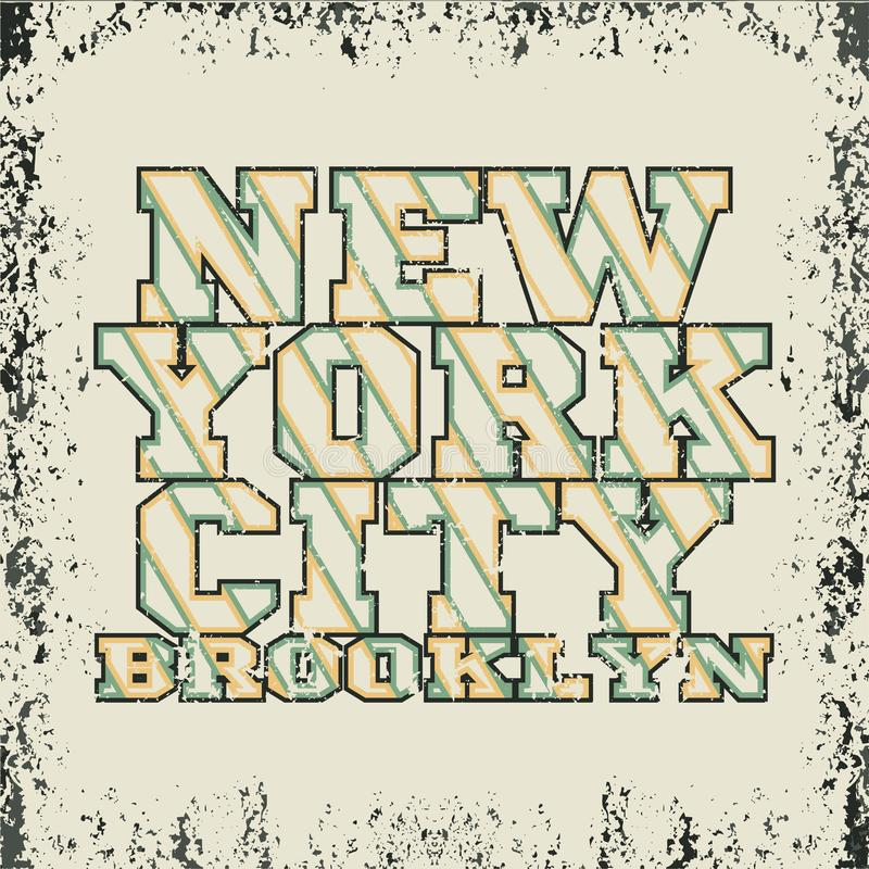 T-tröja nya Yorkl, brooklyn sport, sportdesign, New York fashi vektor illustrationer