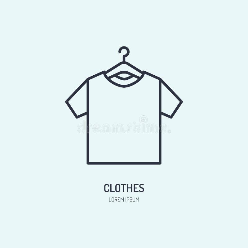 T-tröja på hängaresymbolen som beklär shoppar linjen logo Plant tecken för dräktsamling Logotyp för tvätterit, kläder vektor illustrationer