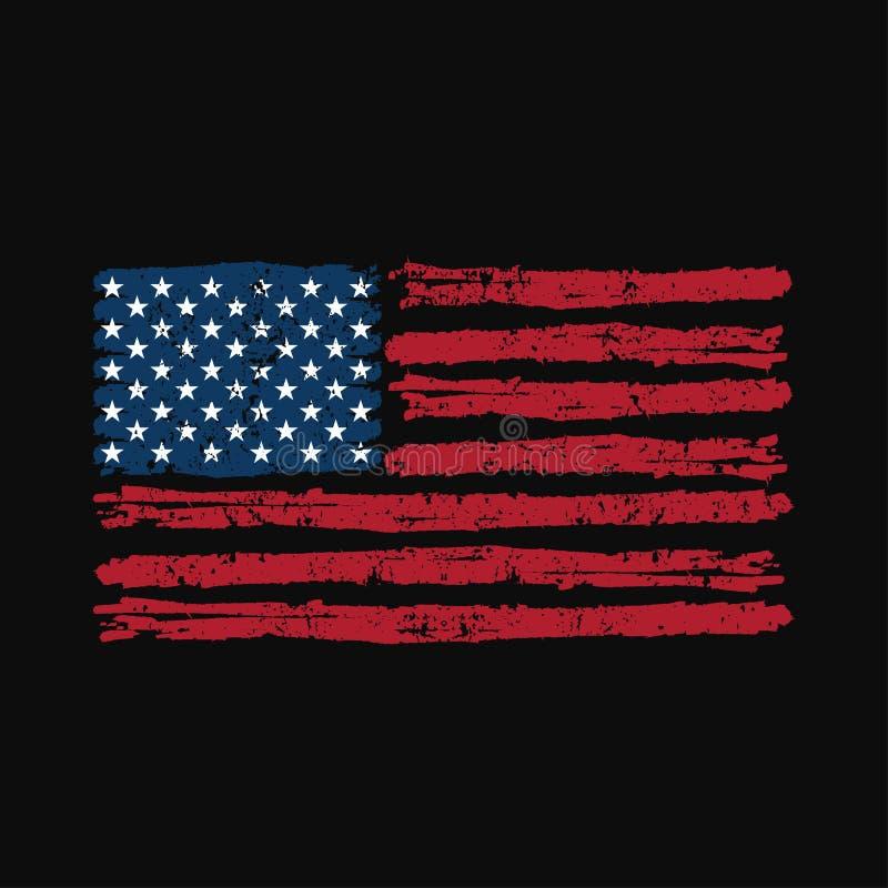 T-tröjaamerikanska flaggan, sportdesign, stilfull utskrift royaltyfri illustrationer