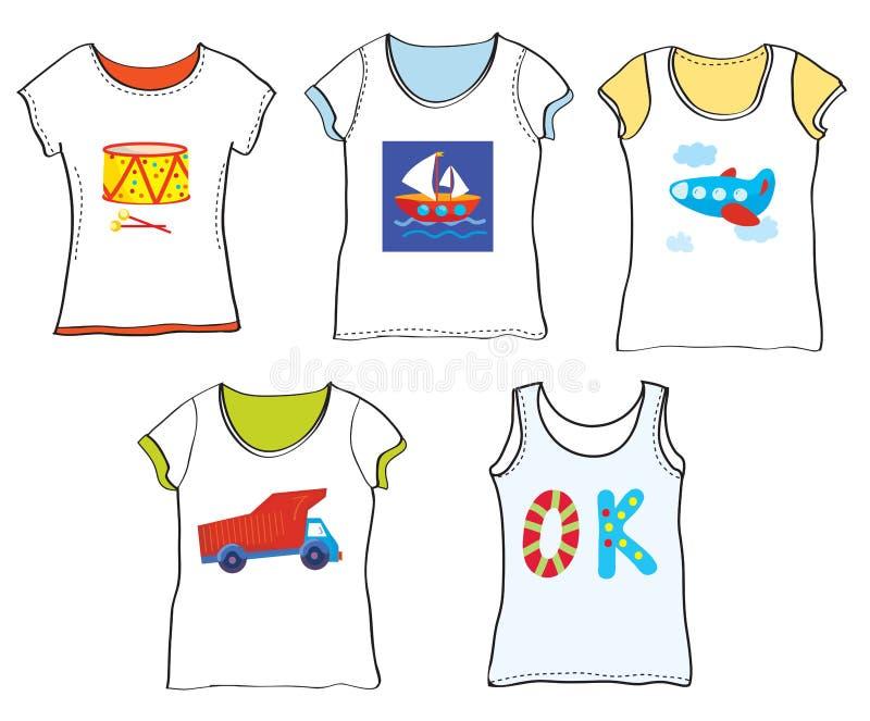 T-tröjadesign för ungar med leksaker stock illustrationer