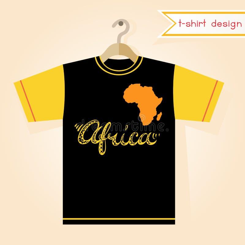 T-tröjadesign med den Afrika kontinentkonturn royaltyfri illustrationer