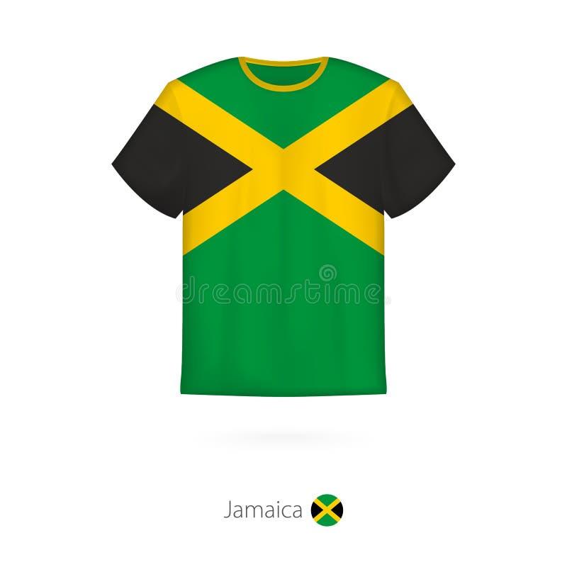 T-tröjadesign med flaggan av Jamaica royaltyfri illustrationer