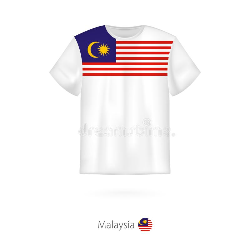 T-tröjadesign med flaggan av Malaysia vektor illustrationer