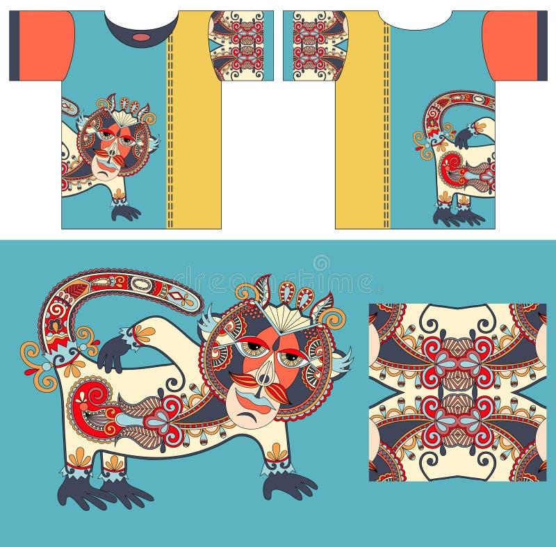 T-tröjadesign med unik dekorativ fantasi stock illustrationer