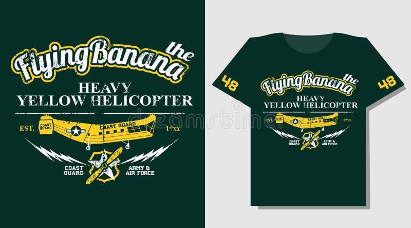 T-tröjadesignen bär trycket med den gula räddningsaktionhelikoptern stock illustrationer