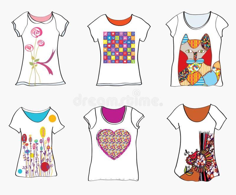 T-tröjadesignmallar med roliga målningar stock illustrationer