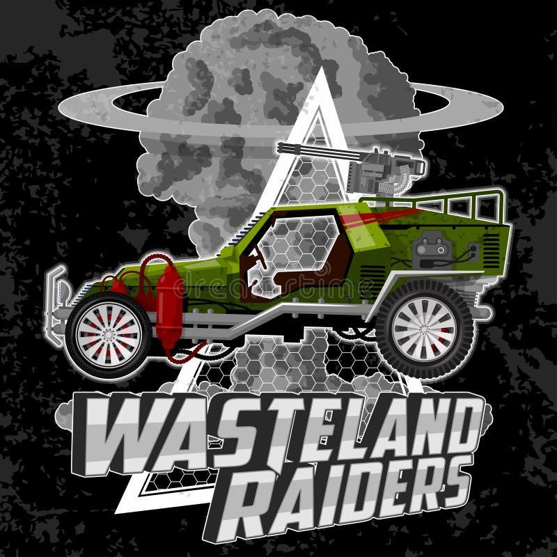 T-tröjaillustration med gigantiska bilar och grungebeståndsdelar royaltyfria foton