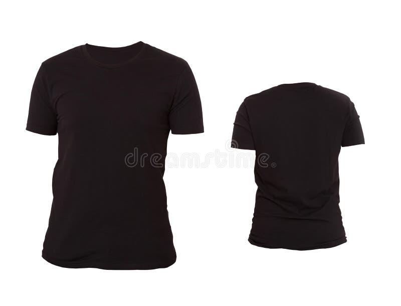 T-tröjamall Framdel- och baksidasikt Åtlöje som isoleras upp på vit bakgrund Blank skjorta Svart stor och liten skjortauppsättnin royaltyfri bild