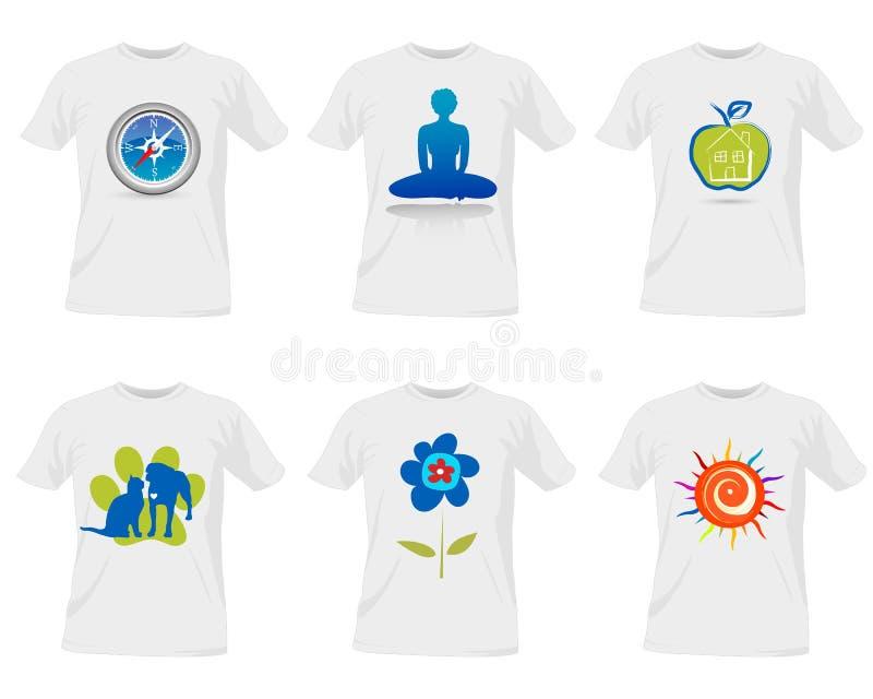 T-tröjamalldesign stock illustrationer