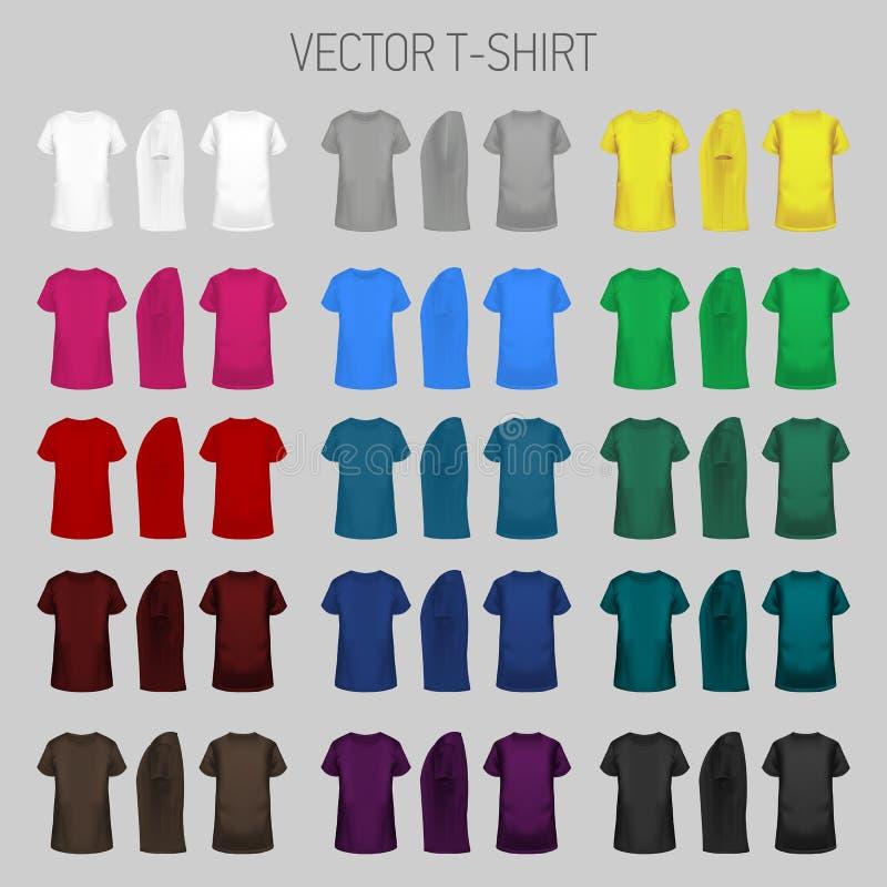 T-tröjamallsamling av olika färger royaltyfri illustrationer