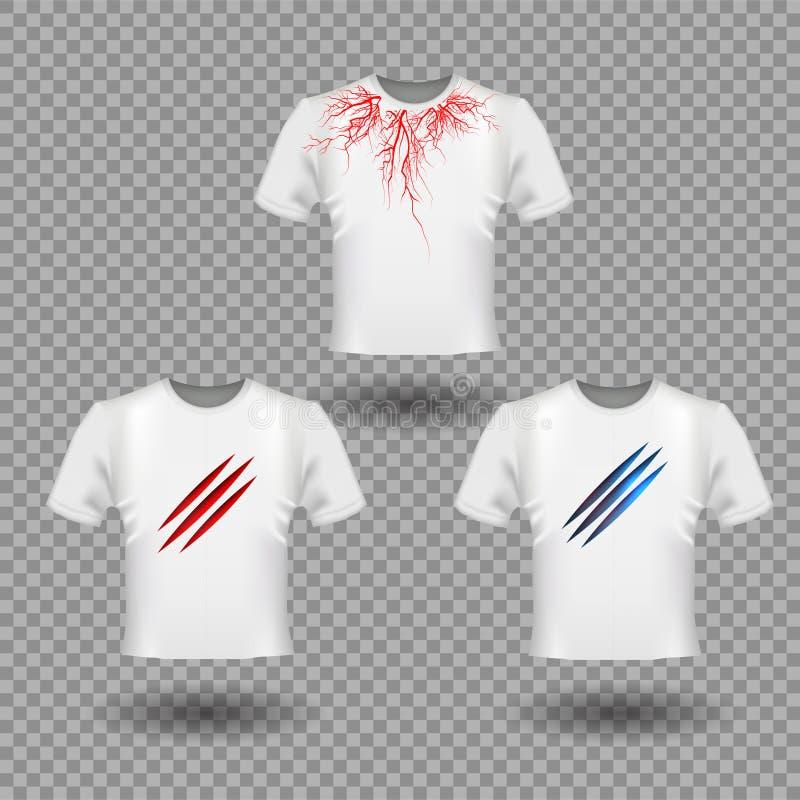 T-tröjamodellen med jordluckrareskrapor och mänskliga åder, röda blodkärl planlägger stock illustrationer