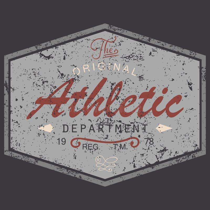 T-tröjaprintingdesign, texturerad tappningstilgrunge, typografidiagram, original- idrotts- avdelning för text, vektorillustrati stock illustrationer