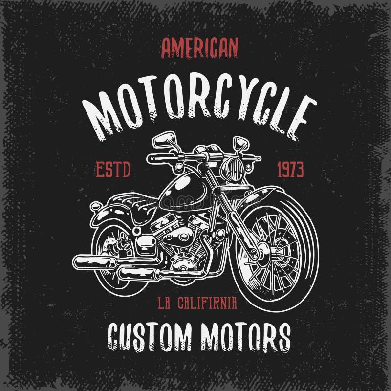 T-tröjatryck med den hand drog motorcykeln vektor illustrationer